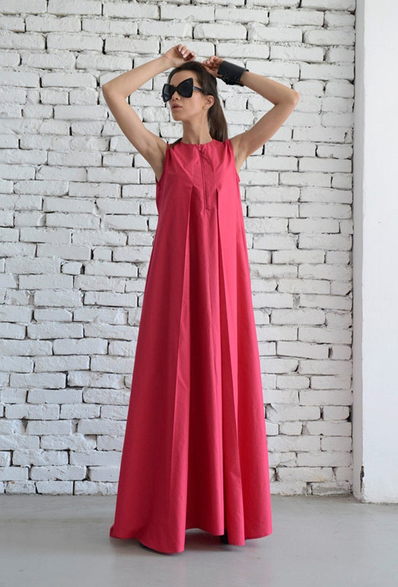 Cotton Candy Pink Maxi Dress / Oversize Loose Casual Dress / Plus Size Pink Kaftan by METAMORPHOZA