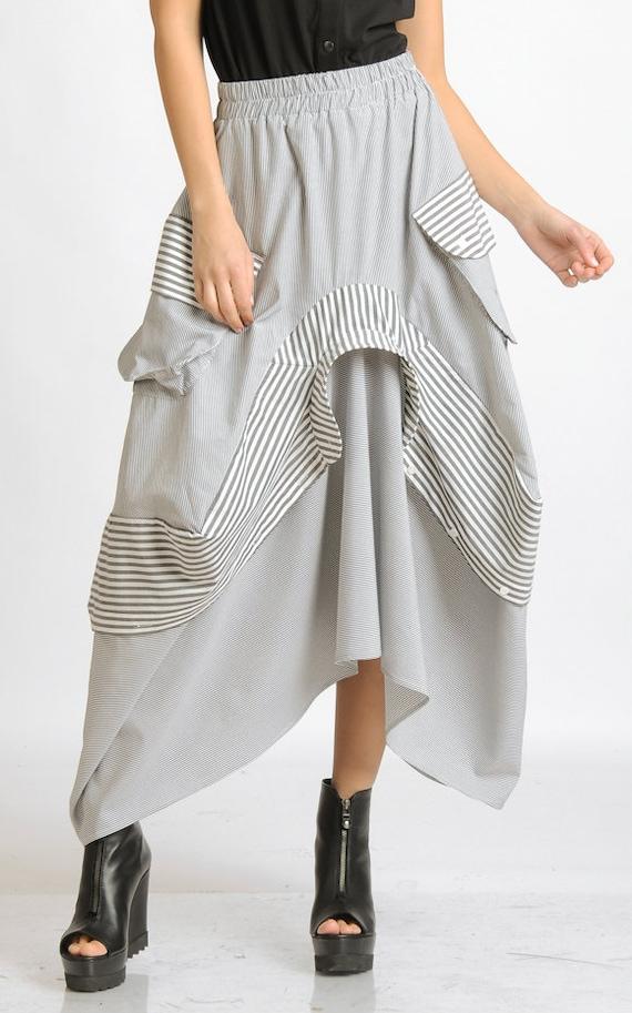 Asymmetric Stripe Skirt/Extravagant Loose Skirt/Elastic Waist Skirt with Pockets/Stripe Maxi Skirt/Plus Size Skirt/Oversize Casual Skirt