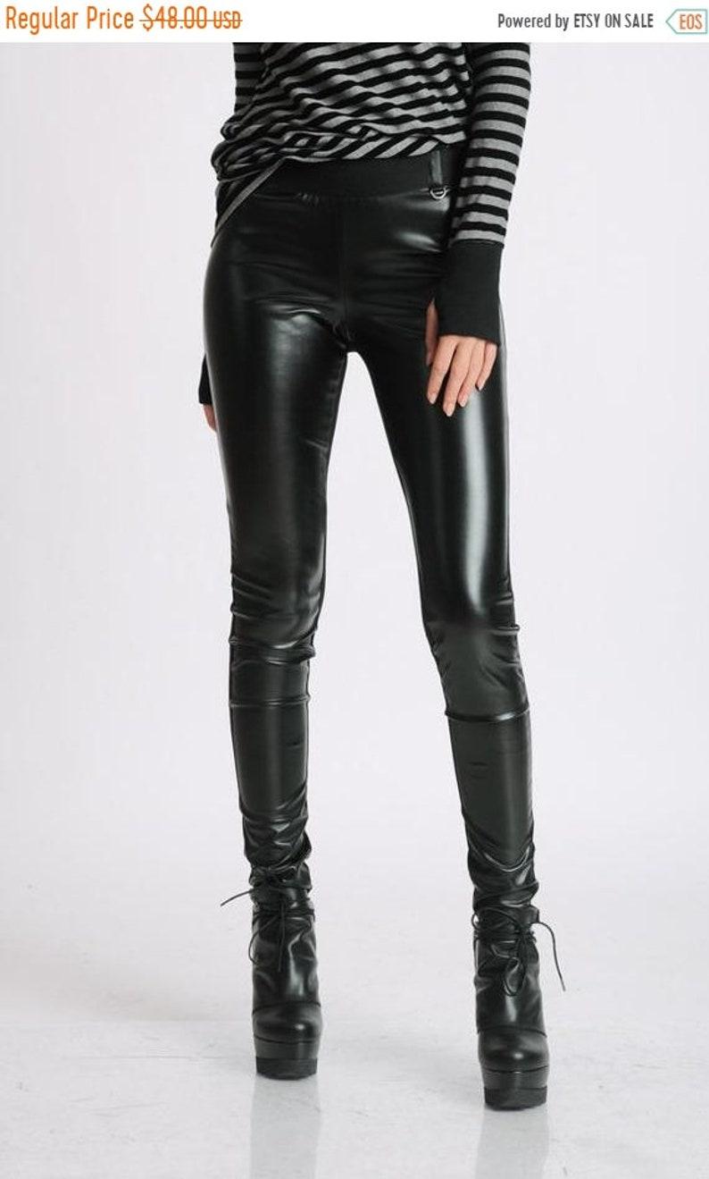 b5cff5e815f21 SALE Black Extra Long Leggings/Faux Leather Front/Cotton | Etsy