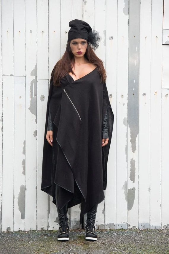 Black Extravagant Asymmetrical Jacket/ Long Black  Oversize Vest / Black Cotton Cardigan by METAMORPHOZA