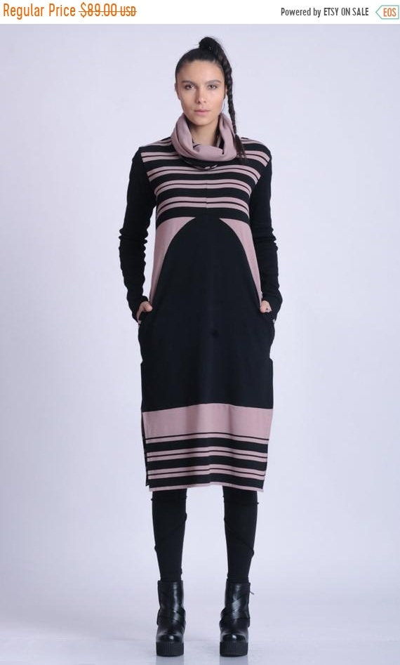 20% OFF NEW Extravagant Long Sleeve Tunic/Stripe Tunic Top/Cowl Neckline Long Top/Loose Casual Tunic Top/Oversize Fit Tunic/Tunic with Pocke