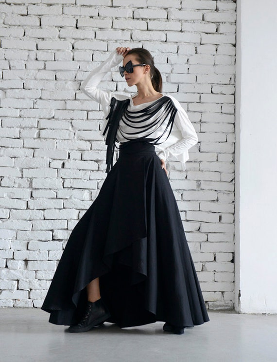 0290571284a Maxi Black Skirt Asymmetric Loose Skirt Long Skirt Elegant
