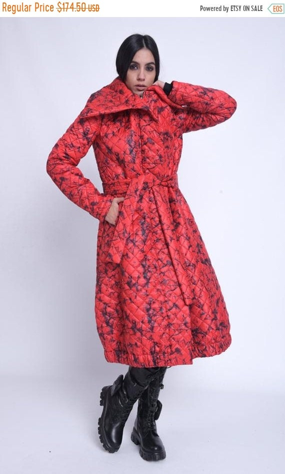 20% OFF NEW Red Belted Down Jacket/Loose Casual Coat/Winter Puffer Coat/Extravagant Puffy Jacket/Long Zipper Coat/Everyday Collared Coat MET