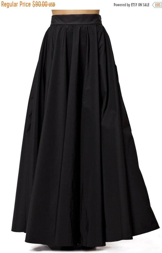 25% OFF Maxi Black Skirt / Long Black Skirt / High Waist A Line Skirt / Oversize Long Skirt/ Casual Black skirt / Loose Sexy Skirt by METAMO
