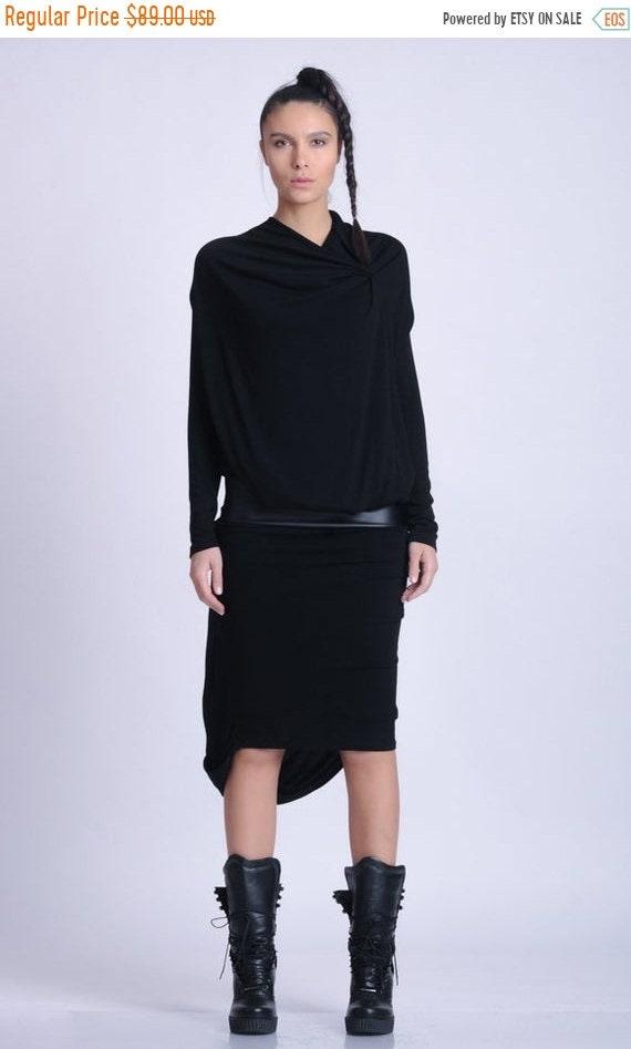20% OFF NEW Black Long Sleeve Dress/Leather Detail Dress/Extravagant Asymmetric Dress/Black Eco Leather Accent Dress/Draped Black Dress METD