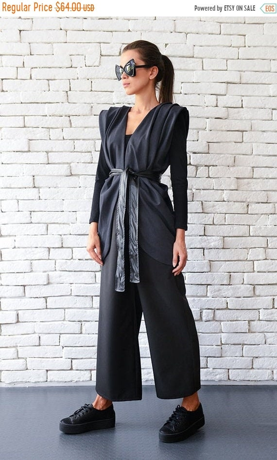 25% OFF Formal Maxi Top/Casual Vest with Leather Belt/Official Event Top/Elegant Loose Tunic/Asymmetric Formal Top/Loose Sleeveless Top METC