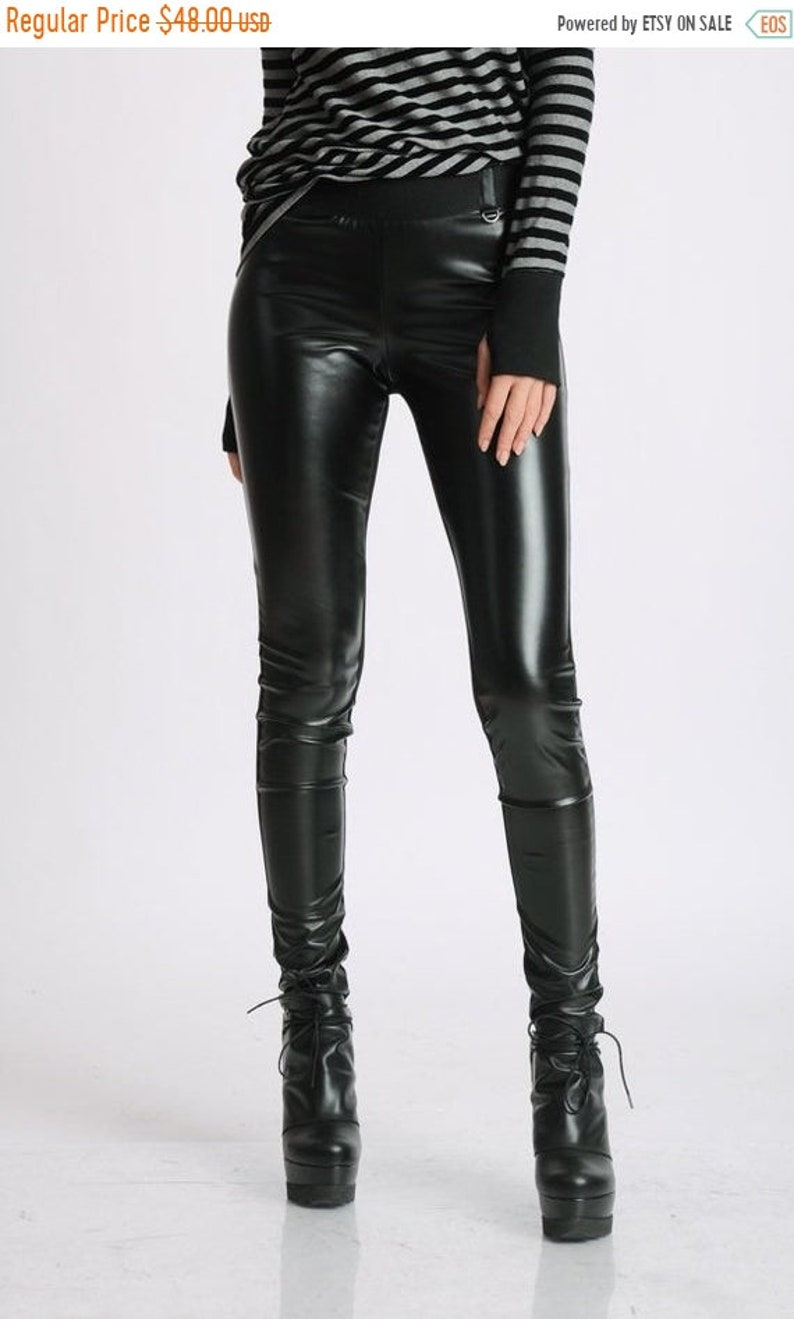 7e07afa2f0bb9 SALE Slim Leather Pants/Black Skinny Leggings/Black Leather | Etsy