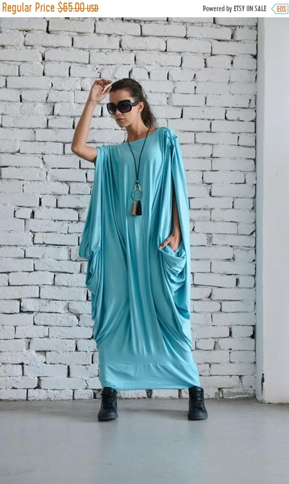 SALE Mint Maxi Dress/Oversize Loose Kaftan/Oversize Light Blue Casual  Dress/Plus Size Long Top/Extravagant Maxi Blue Dress/Baby Blue Party D