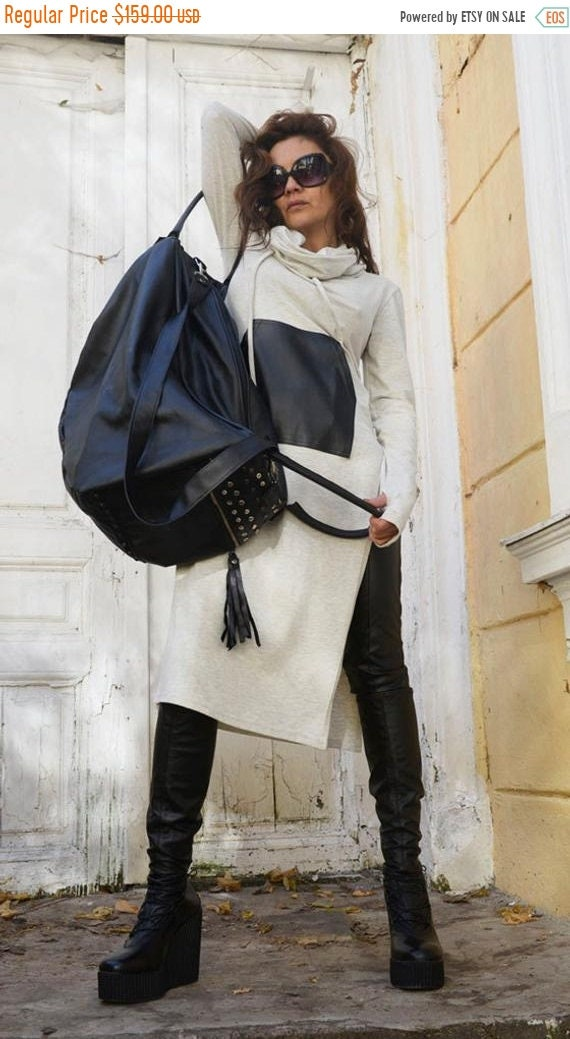15% OFF Genuine Leather Black Bag / High Quality Large Tote / Asymmetrical Fringe Tassel Bag / Duffle Bag / Large Purse Bag by METAMORPHOZA