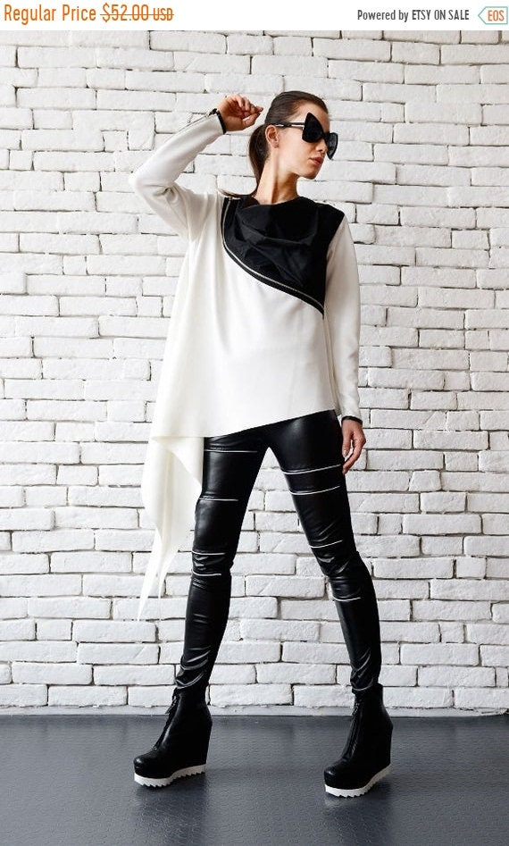 20% OFF White Loose Top/Extravagant Black And White Tunic/Zipper Top/Asymmetric Long Top/Plus Size Top/Long Sleeve Tunic/White Neoprene Top