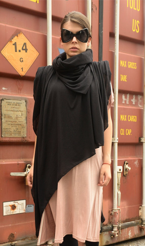 Black Scarf / Loose Extravagant Top / Asymmetrical Poncho / Turtle Neck Top by METAMORPHOZA