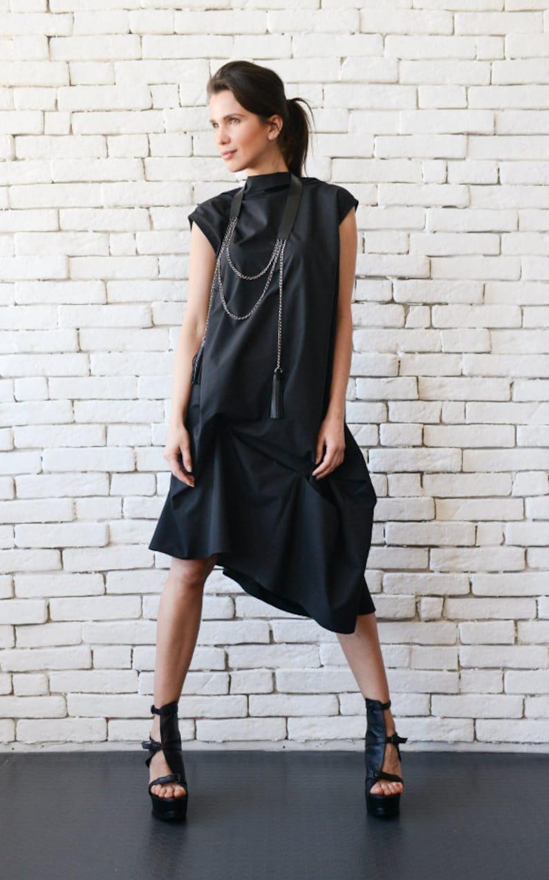 Black Asymmetric Dress/Plus Size Maxi Dress/Oversize Tunic image 0