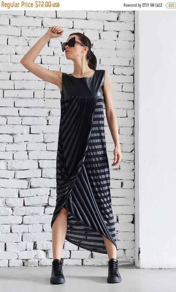 35% OFF Black Maxi Dress/Striped And Eco Leather Dress/Loose Dress/Asymmetric Maxi Dress/Plus Size Maxi Dress/Elegant Gown/Leather Top Long