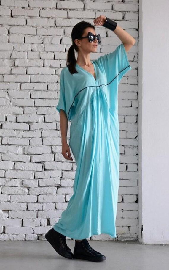 35% OFF Maxi Mint Dress/Oversize Long Light Blue Dress/Plus Size Kaftan/Loose Summer Dress/Extravagant Long Tunic/Short Sleeve Casual Dress