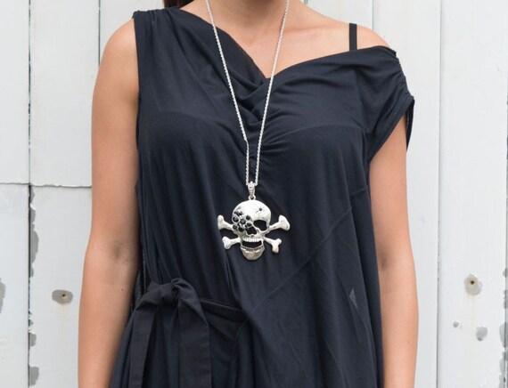 Long Black Dress / Draped Belted Black Dress / Oversize Black Tunic / Loose Black Dress