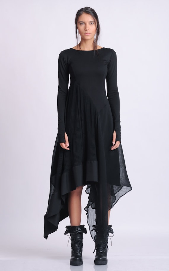 Long Sleeve Asymmetric Dress/Thumb Hole Sleeve Dress/Casual Pleated Dress/Black Chiffon Dress/Everyday Comfortable Dress METD0134