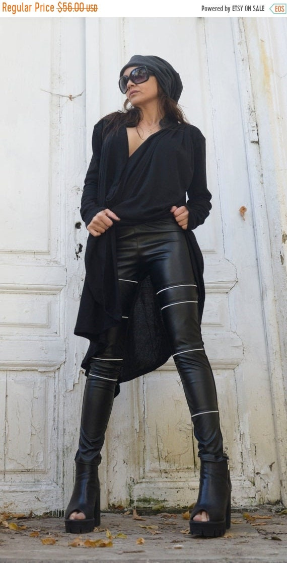 20% OFF Black Leather Tight Pants/Extra Long Pants with Zippers/Statement Woman Leggings from Eco Leather/Vegan Leather Pants METP0006