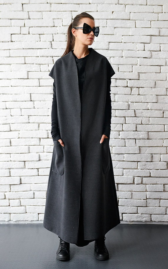 Grey Winter Wool Coat / Loose Long Jacket / Warm Coat with Big Pockets / Oversize Sleeveless Jacket by METAMORPHOZA