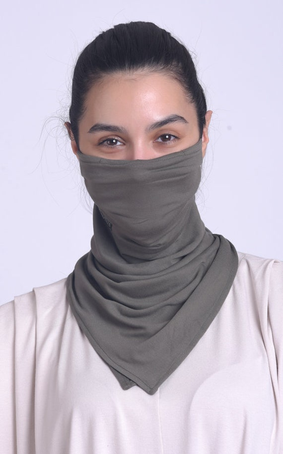Khaki Grey Face Mask with Filter/Comfortable Balaclava/Reusable Scarf Mask/Viscose Neck Gaiter/Face Bandana Mask/Face Cover with Ear Loops