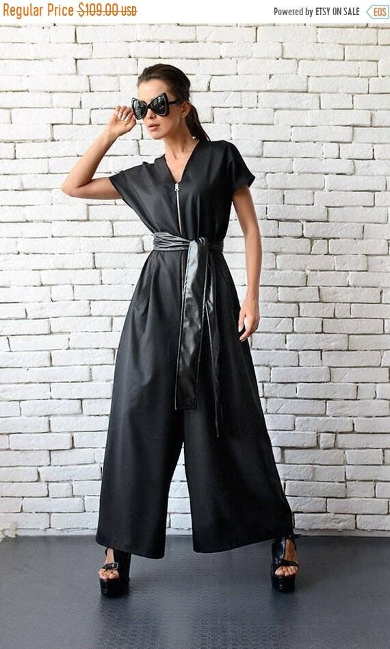 25% OFF Black Maxi Jumpsuit/Oversize Loose Jumpsuit/Plus Size Overall/Short Sleeve Top Wide Leg Bottom Suit/Loose Zipper Jumpsuit METJ0008