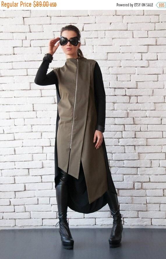 25% OFF Khaki Long Formal Vest/Elegant Tunic Top/Oil Green Asymmetric Shirt/Extravagant Sleeveless Jacket/Open Back Loose Tunic/Plus Size Lo