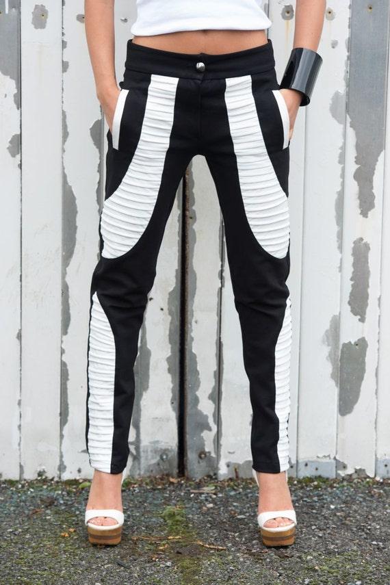 Black and White Pants/Leather Leggings/Long Pants/Vegan Trousers/Skinny Pants/Leather Pants/Tight Trousers/Extravagant Long Pants METP0001