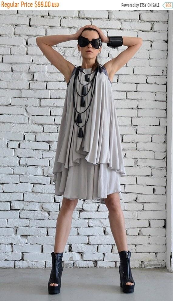 20% OFF Grey Loose Tunic/Two Layer Top/Short Summer Dress/Oversize Tunic Top/Grey Casual Dress/Drape Extravagant Tunic Dress by METAMORPHOZA