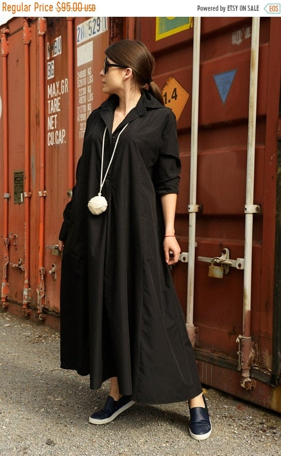 SALE Black Shirt Dress /Black Maxi Dress /Long Sleeve Dress / Oversize  Black Tunic Dress / Plus Size Collar Dress / Formal Kaftan by METAMOR