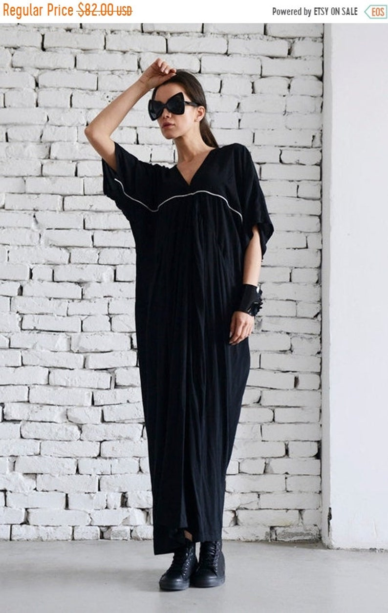 SALE Maxi Black Dress/Long Plus Size Dress/Short Sleeve Black Kaftan/Party  Black Dress/White Line Black Dress/Casual Loose Dress/Plus Size T