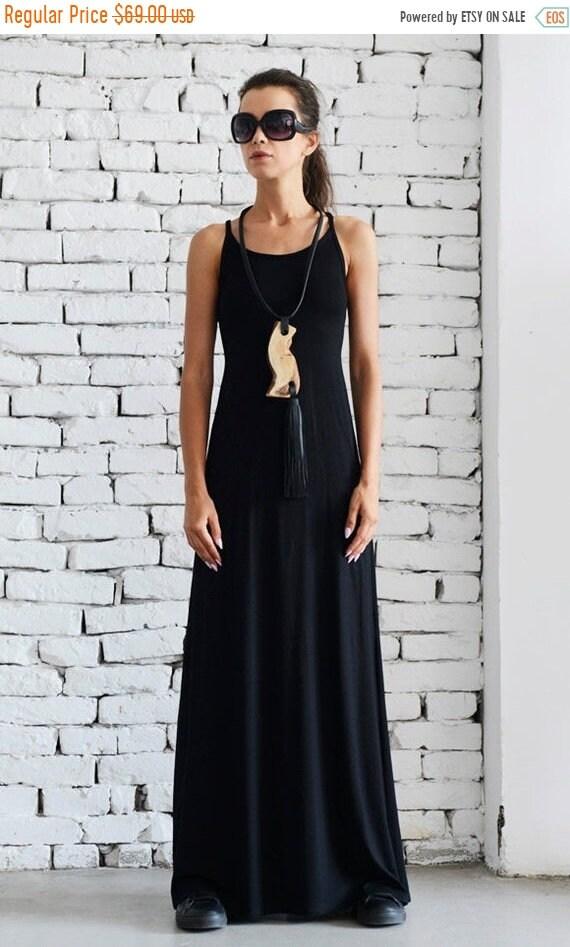 20% OFF Elegant Long Black Dress/Open Back Dress/Thick Strap Gown/Sexy Black Dress/Sleeveless Loose Kaftan/Oversize Black Tunic Dress METD00