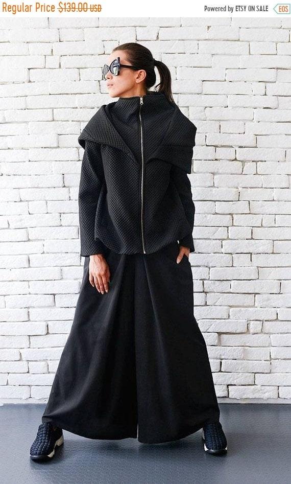 25% OFF Loose Maxi Coat/Extravagant Casual Jacket/Black Short Coat/Hooded Cardigan/Plus Size Warm Jacket/Long Sleeve Top/Oversize Loose Tuni