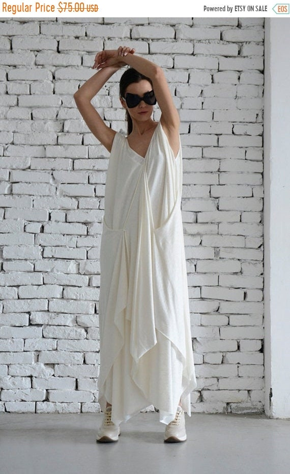 20% OFF White Maxi Dress/Asymmetric Dress/Off White Kaftan/Long Maxi Dress/Plus Size Maxi Dress/Sleeveless Casual Summer Dress by Metamorpho