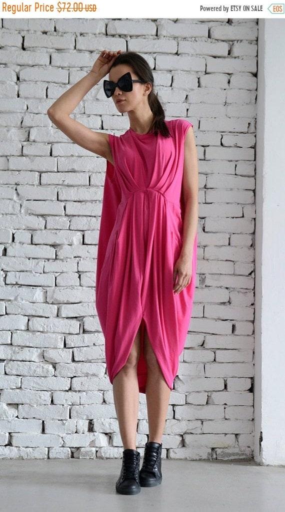 35% OFF Pink Loose Dress/Oversize Asymmetrical Tunic/Summer Fushia Short Dress/Sleeveless Casual Long Top/Draped Maxi Dress/Everyday Kaftan