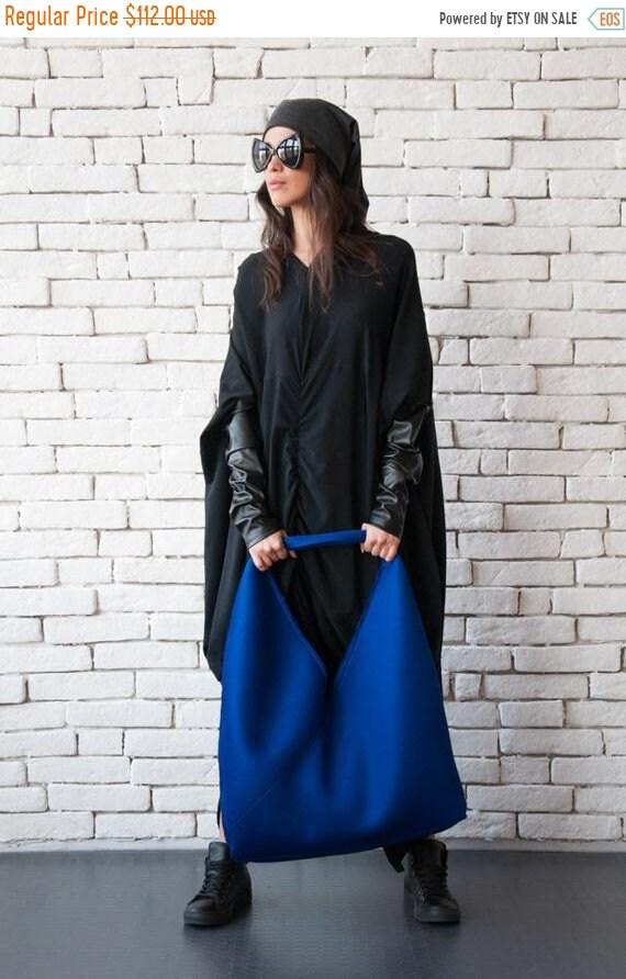 15% OFF Extravagant Blue Bag/Asymmetric Maxi Bag/Large Shoulder Bag/Blue Tote Bag/Neoprene Cloth Bag/Oversize Casual Bag/Modern Blue Maxi To