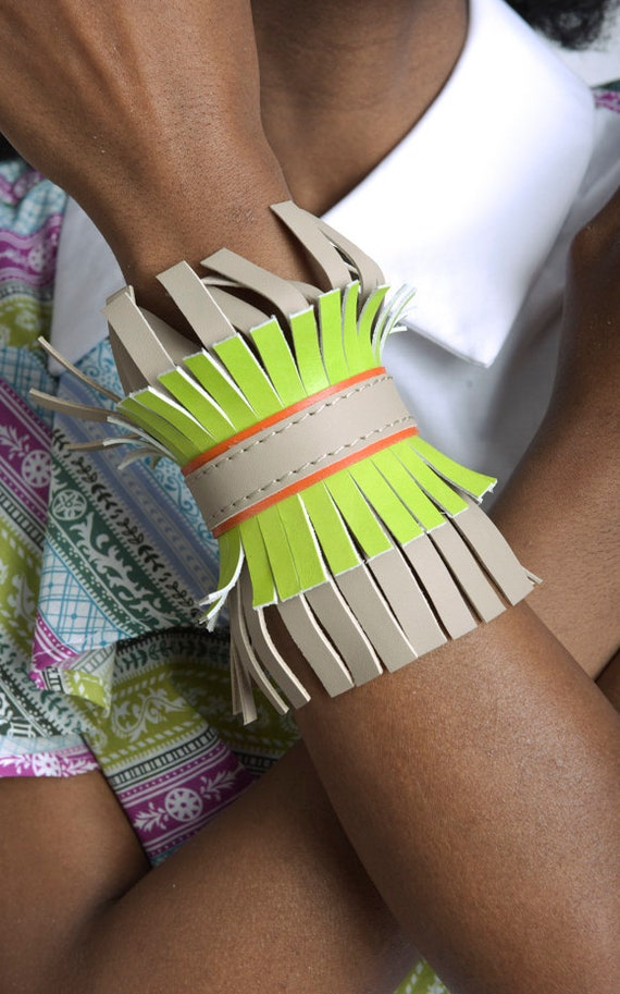 Oversize Leather Bracelet/Multi Color Hand Cuff/Genuine Leather Wrist Band/Extravagant Long Bracelet/Party Leather Accessory