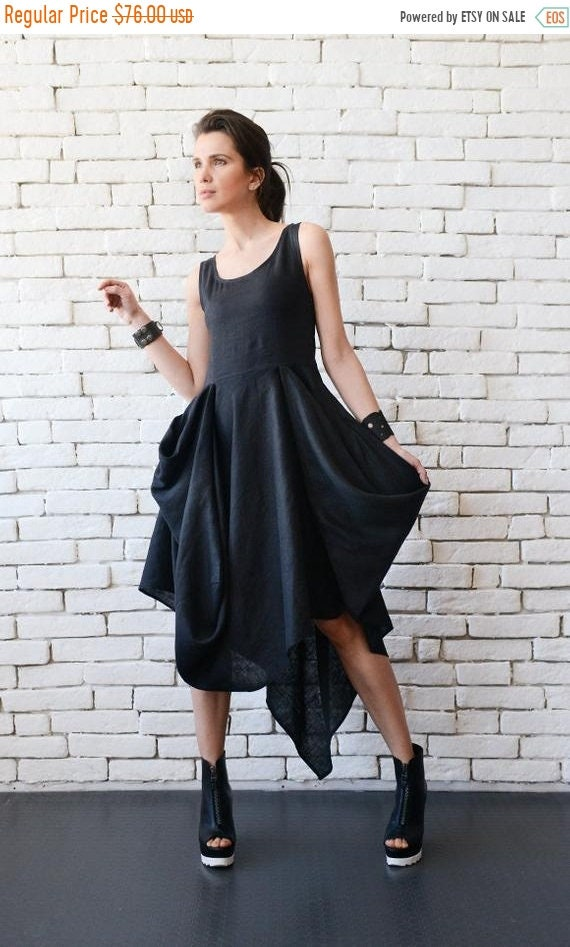35% OFF Extravagant Black Dress/Asymmetric Linen Dress/Long Short Sleeveless Dress/Oversize Long Tunic/Black Linen Dress/Everyday Casual Dre