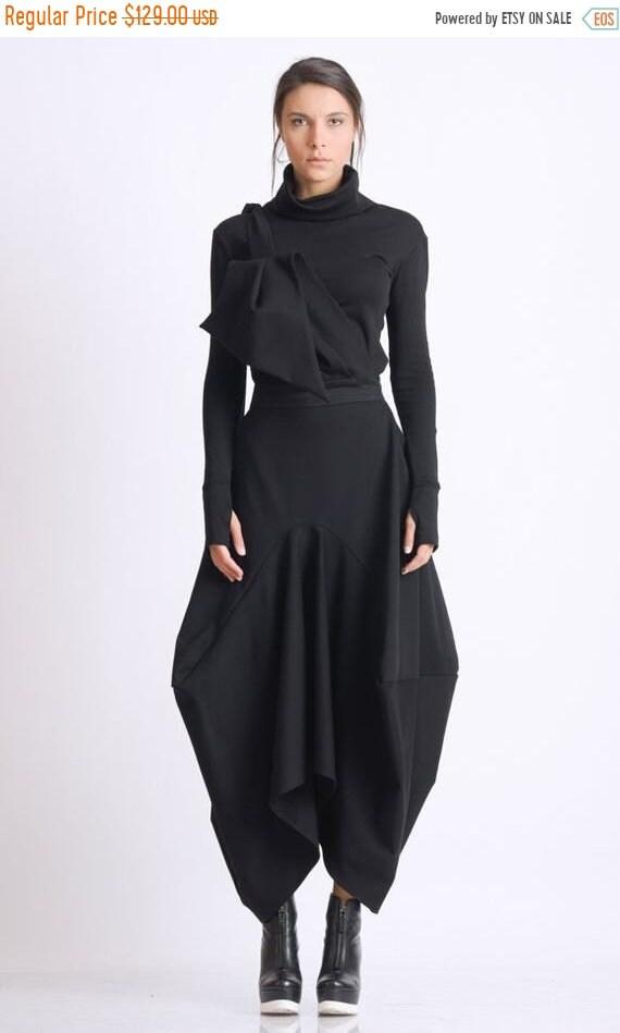 25% OFF Asymmetric Black Skirt/Loose Long Skirt/Black Maxi Skirt/Extravagant Oversize Skirt/Avant Garde Jumpsuit Skirt/Black Maxi Skirt METS