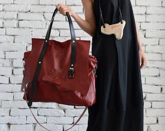 Red Maxi Bag / Off Shoulder Bag / Cross Body Bag / Genuine Leather Bag