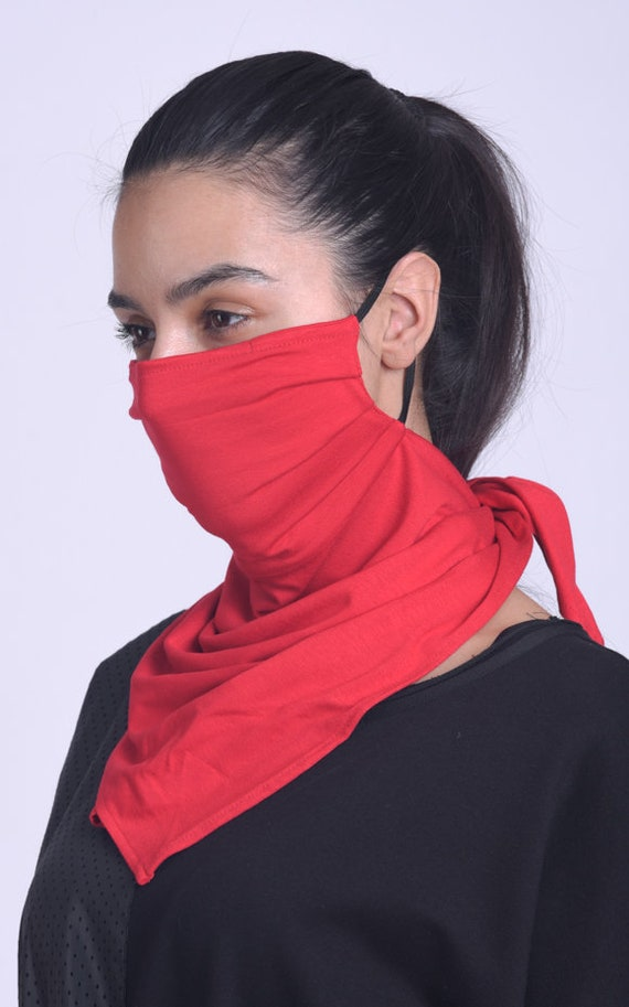 Red Neck Gaiter/Everyday Protective Mask with Filter/Casual Red Bandana Mask/Safety Balaclava Mask/Face and Neck Protective Cover/Scarf Mask