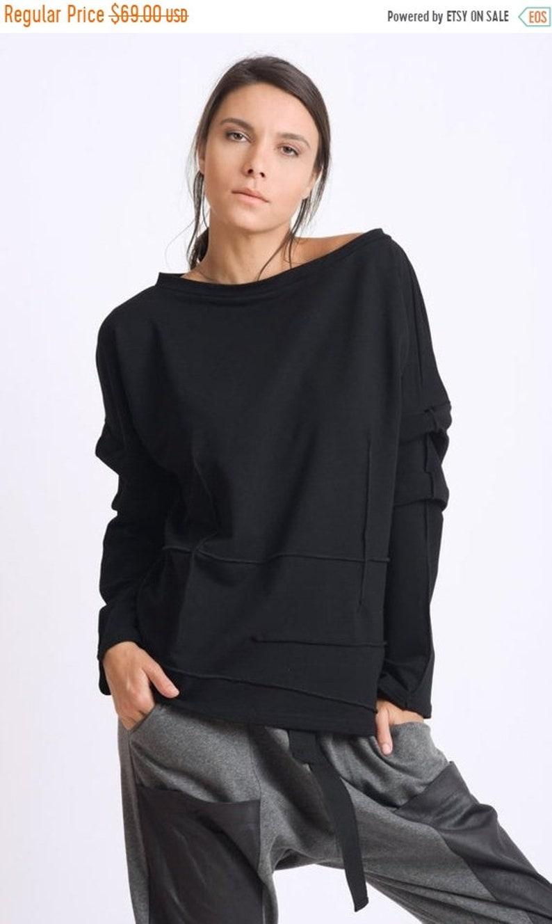 4559bb078b4 SALE Black Tunic Top/Extravagant Sleeve Sweatshirt/Loose Maxi   Etsy