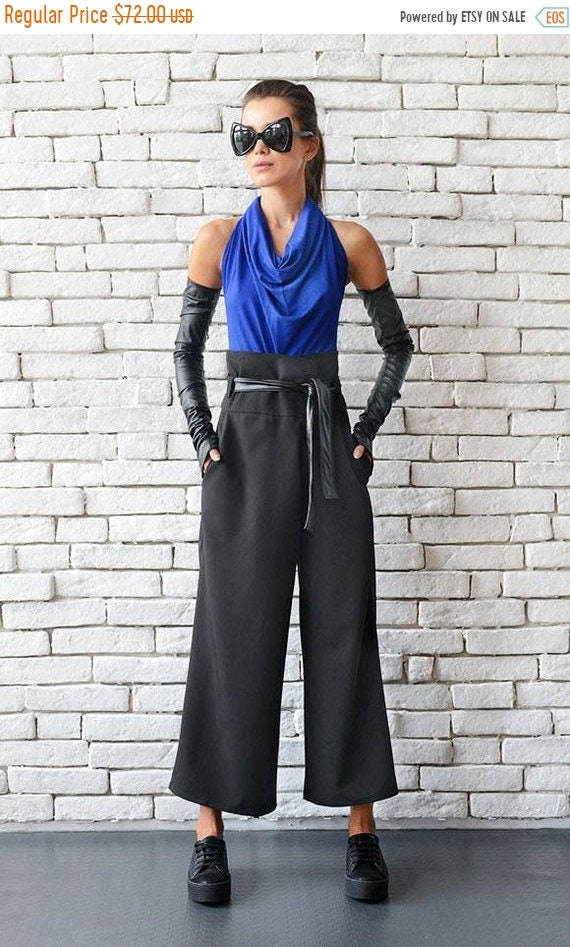 20% OFF Black Maxi Pants/Loose Long Trousers/High Waist Pants/Black Casual Pants/Wide Leg Pants/Oversize Long Pants/Black Belted Pants METP0