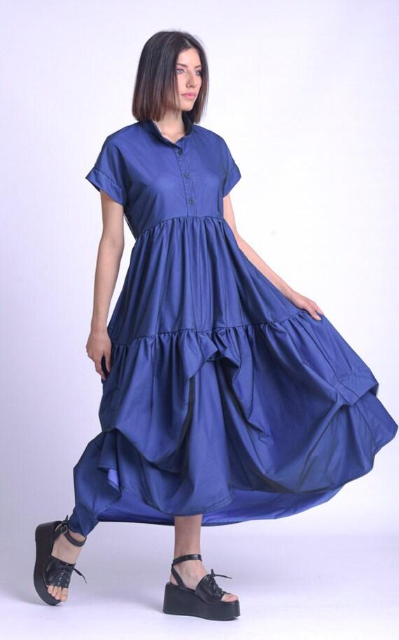 High Waist Maxi Dress/Mesh Layer Dress/Asymmetric Blue Dress Dress/Plus Size Maxi Dress/Long Loose Dress/Short Sleeve Shirt Dress METD0154