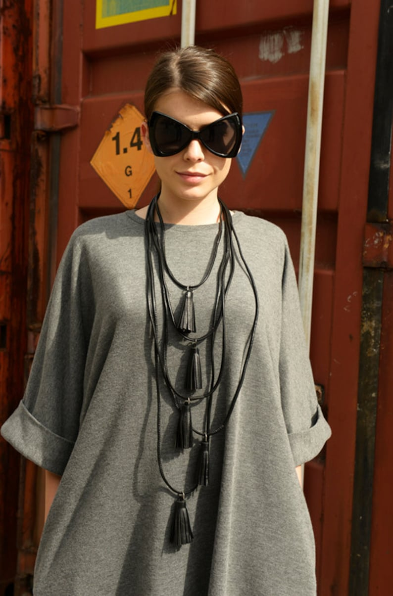 Genuine Leather Necklace / Black Extravagant Necklace with image 0