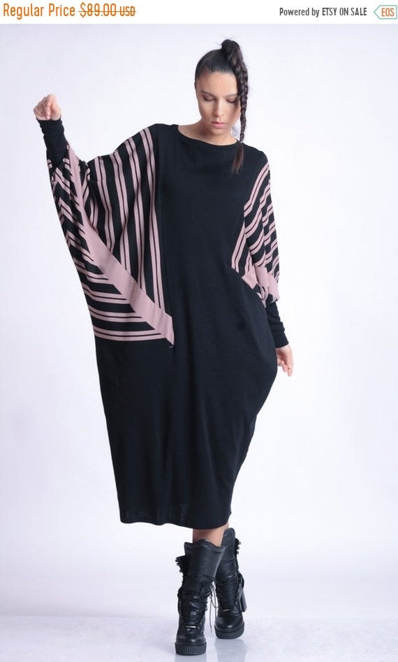 20% OFF NEW Extravagant Maxi Dress/Plus Size Stripe Dress/Oversize Tunic Dress/Comfortable Casual Dress/Long Sleeve Tunic/Black Kaftan METD0