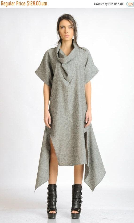 20% OFF Grey Linen Dress/Asymmetric Casual Tunic Dress/Short Sleeve Maxi Dress/Loose Long Tunic/Plus Size Linen Dress/Oversize Cowl Dress