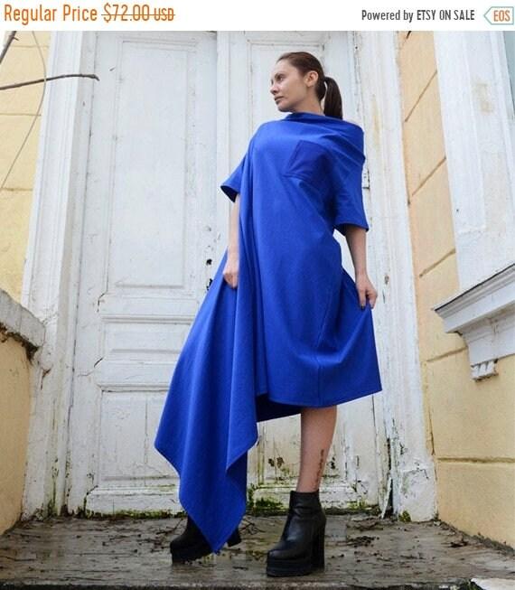 20% OFF Long Loose Blue Tunic/Fallen Shoulder Spring Blue Dress/Blue Maxi Dress with Pocket/Asymmetrical Blue Kaftan/Oversize Casual Dress