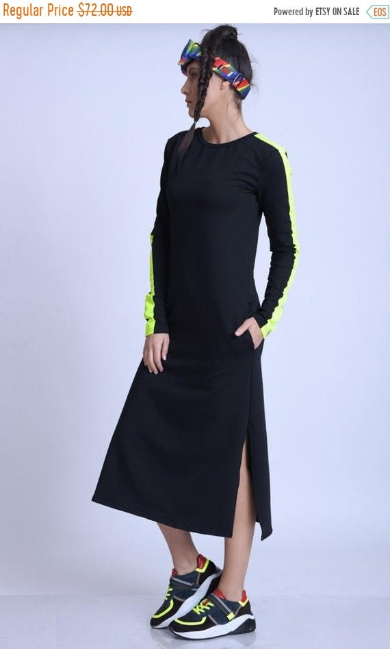 15% OFF META SPORT Everyday Dress with Neon/Long Sleeve Casual Dress/Black Pocket Dress/Black Casual Dress with Neon/Dress with Side Slits