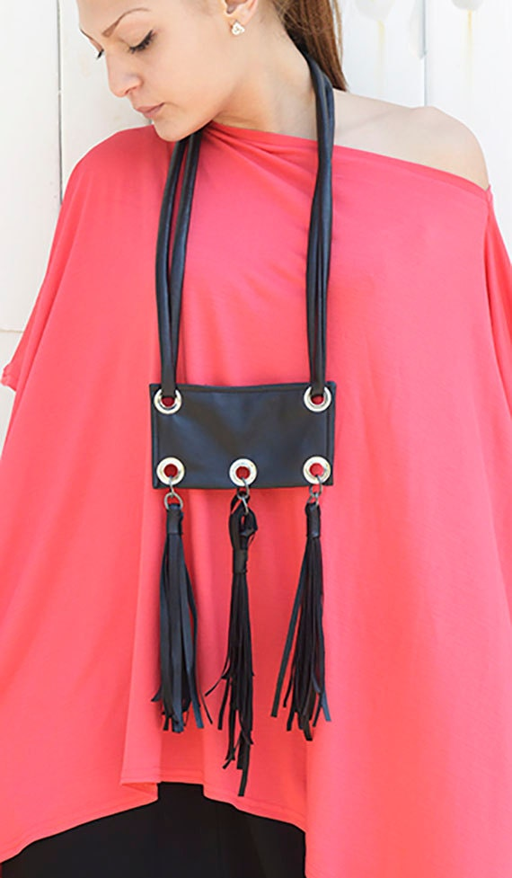 Black Leather Tassel Necklace / Black Necklace / Extravagant Accessory / Statement Necklace / Casual Accessory by METAMORPHOZA