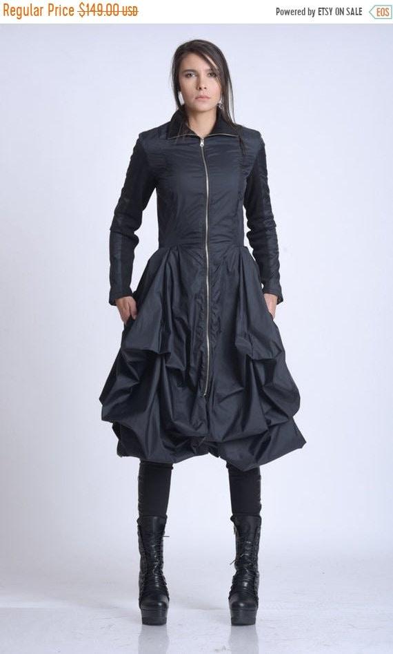 25% OFF NEW Asymmetric Dress Coat/Loose Modern Zipper Jacket/Extravagant Draped Jacket/Knee Length Coat/Black Elegant Coat/Feminine Dress Ja
