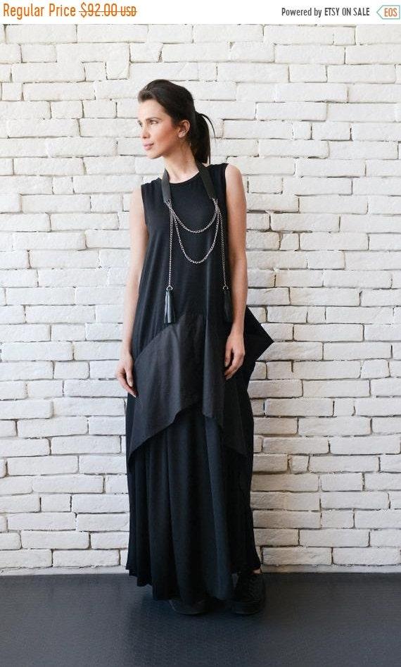 SALE Black Maxi Dress/Extravagant Black Kaftan/Asymmetric Plus Size  Dress/Sleeveless Oversize Tunic Top/Suspenders Back/Casual Everyday Dres